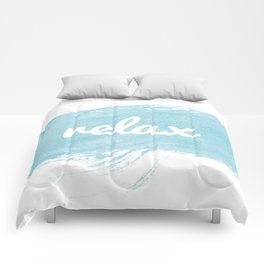 Blue paint Relax quote  Comforters