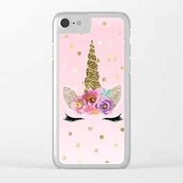 Floral Trendy Modern Unicorn Horn Gold Confetti Clear iPhone Case