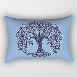 Tree of Life Blue Rectangular Pillow