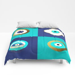 Turquoise and Blue evil eyes Comforters