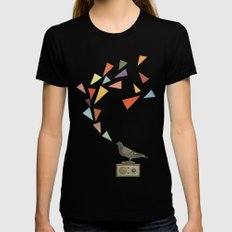 Pigeon Radio Womens Fitted Tee Black SMALL