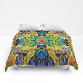 Colorful  Nature Wood Pattern Psychedelic Art Comforters