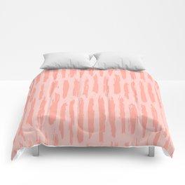 Rose Pink Vertical Dash Stripes Comforters