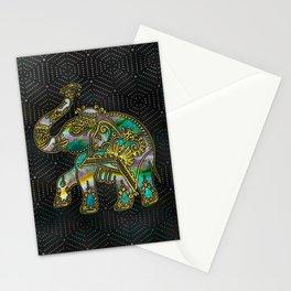 Gold Framed Elephant on Colorful Abalone decor Stationery Cards