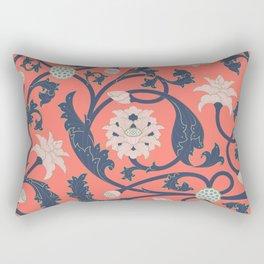 Oriental Lotus Pattern In Coral Pink Rectangular Pillow