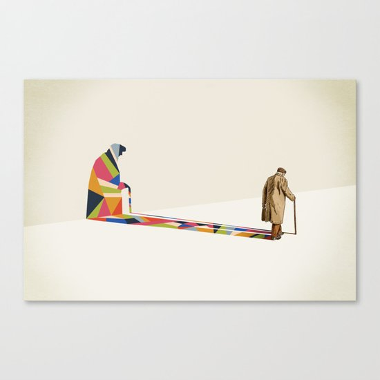 Walking Shadow, Old Man Canvas Print