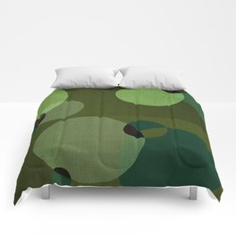 """Retro Green Super Dots"" Comforters"