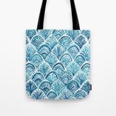 NAVY LIKE A MERMAID Fish Scales Watercolor Tote Bag