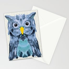 Whimsical Blueberry Owl Stationery Cards