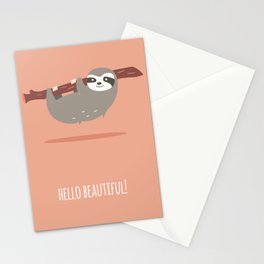 Sloth card - hello beautiful Stationery Cards