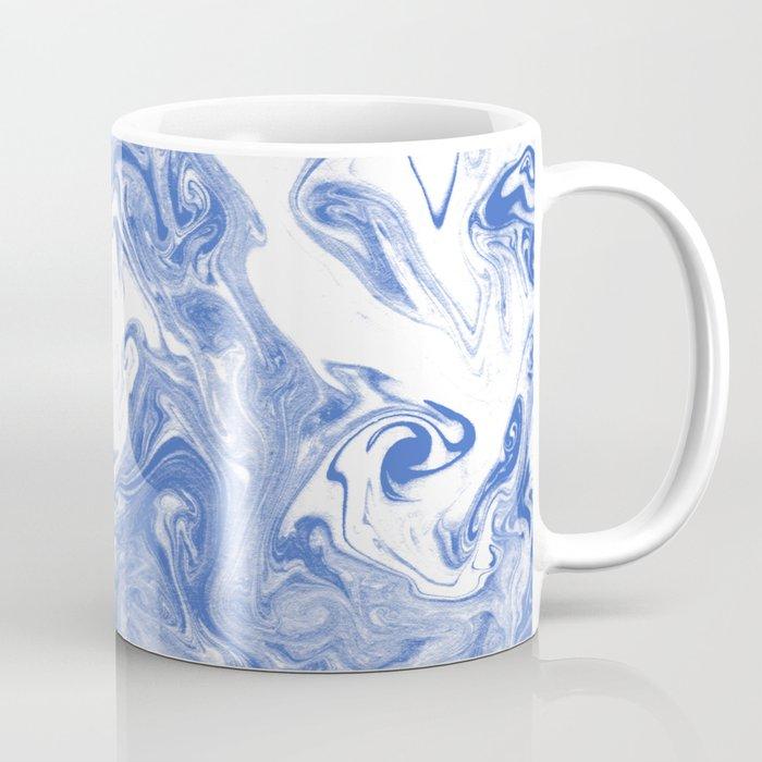 Marble Suminagashi indigo blue 2 watercolor pattern art pisces water wave ocean minimal design Coffee Mug
