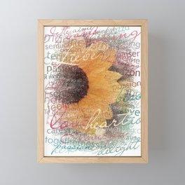 Words of Love Sunflower Framed Mini Art Print