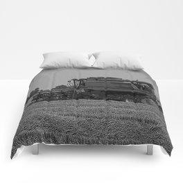 Black & White Harvesting Equipment Pencil Drawing Photo Comforters
