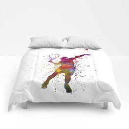 tennis player at service serving silhouette 01 Comforters