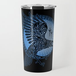 Viking Raven of Death - Blue Travel Mug