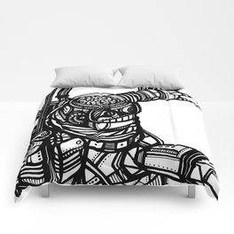 Robot 4 black and white Comforters