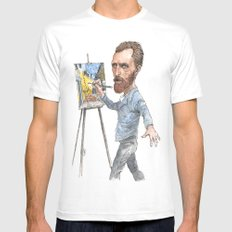 Van Gogh Paints Night Cafe MEDIUM White Mens Fitted Tee
