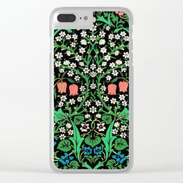 William Morris Jacobean Floral, Black Background Clear iPhone Case