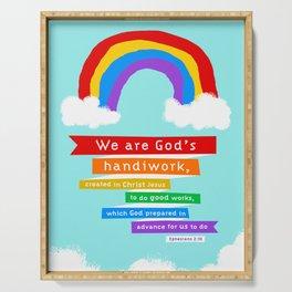 Ephesians 2:10 (Rainbow) Serving Tray