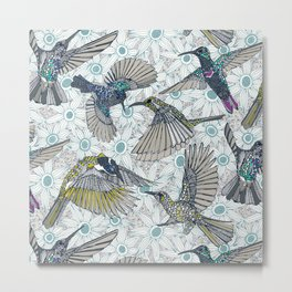 hum sun honey birds blue Metal Print