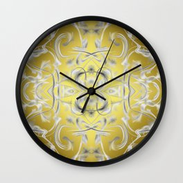 silver Digital pattern with circles and fractals artfully colored design for house and fashion Wall Clock