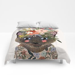 Siamese Cat with Flowers Comforters