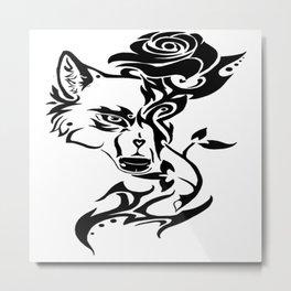 wolf and rose Metal Print