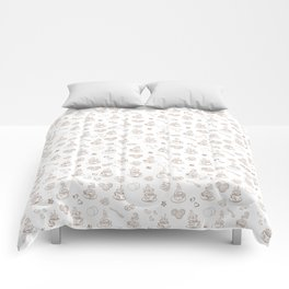 Tea time warm taupe on white Comforters