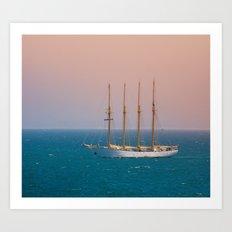 The sun on the sailing ship Art Print