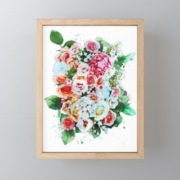 Rose Flower Bouquet Watercolor Framed Mini Art Print