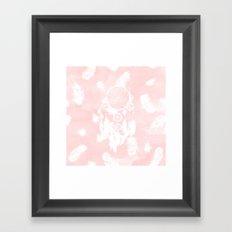 Blush pink watercolor dreamcatcher boho feathers illustration Framed Art Print