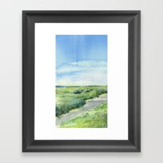 Sky and Grass Landscape Watercolor Framed Art Print
