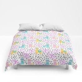 Funny cute teal pink romantic lama black polka dots Comforters