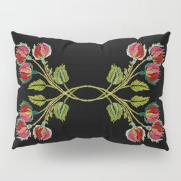 Embroidered Scandi Flowers Pillow Sham