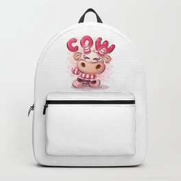 Cute Funny Cartoon Cow Character Pink Animal Illustration Backpack