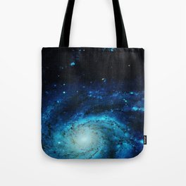 Teal Pinwheel Galaxy Tote Bag