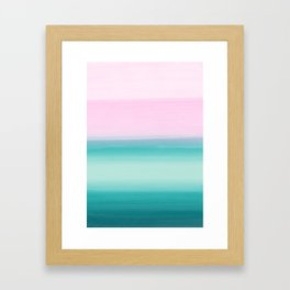 Touching Seafoam Teal Pink Watercolor Abstract #1 #painting #decor #art #society6 Framed Art Print