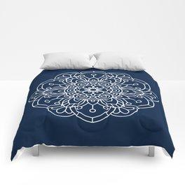 Navy Blue and White Flower Mandala Comforters