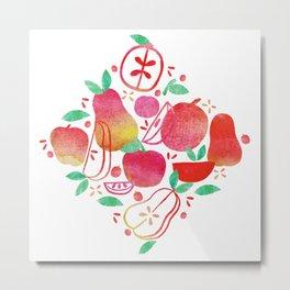 Red Apples & Pears Metal Print