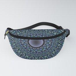 Blue Sacred Kaleidoscope Mandala Fanny Pack