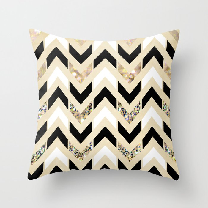 Black, White & Gold Glitter Herringbone Chevron on Nude Cream Throw Pillow