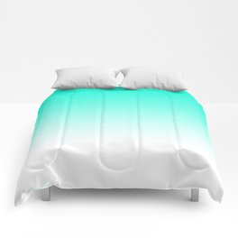 Modern bright simple mint green white color ombre gradient Comforters
