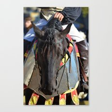 Jousting Horse - Portrait with Rider Canvas Print