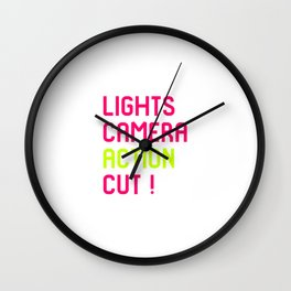 Lights Cut Camera Action Director Film School Wall Clock