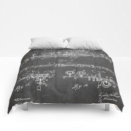 Flute Patent - Musician Art - Black Chalkboard Comforters