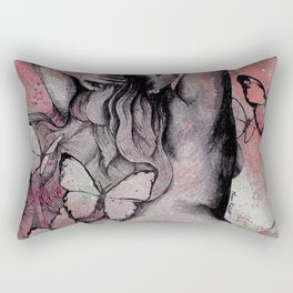 Sugar Coated Sour: Pomegranate (nude curvy pin up with butterflies) Rectangular Pillow