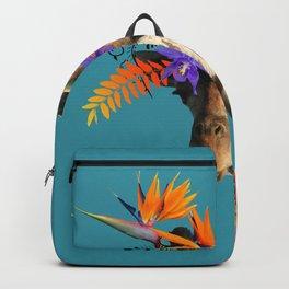 Giraffe Flower Art Work Heliconia Bird of Paradise Backpack