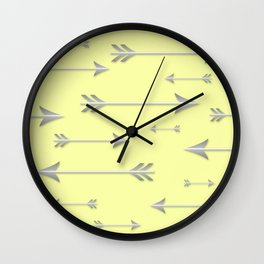 Silver Arrows on Yellow Wall Clock