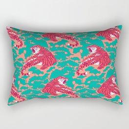 Scarlet tigers on lotus flower field. Rectangular Pillow