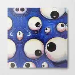 Blue Monster Eyes Metal Print